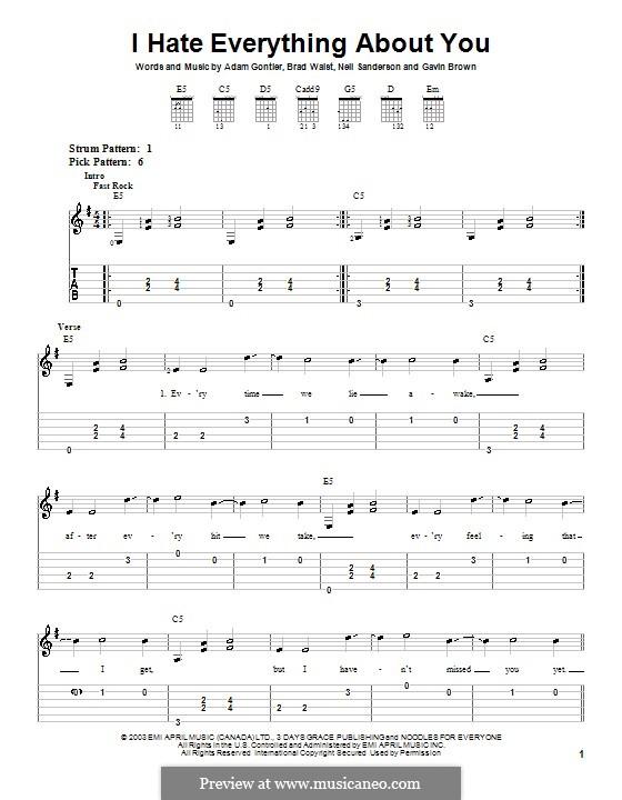 I Hate Everything About You (Three Days Grace): Для гитары (очень легкая версия) by Gavin Brown