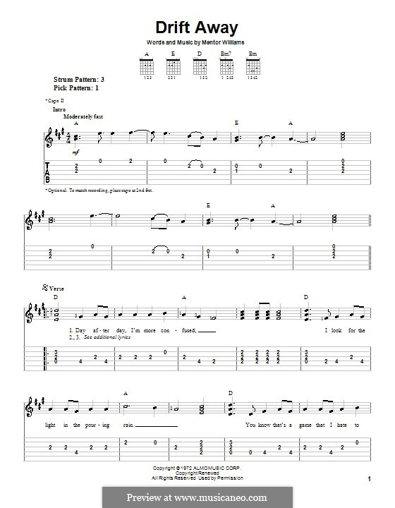 Drift Away (Dobie Gray): Для гитары (очень легкая версия) by Mentor Williams