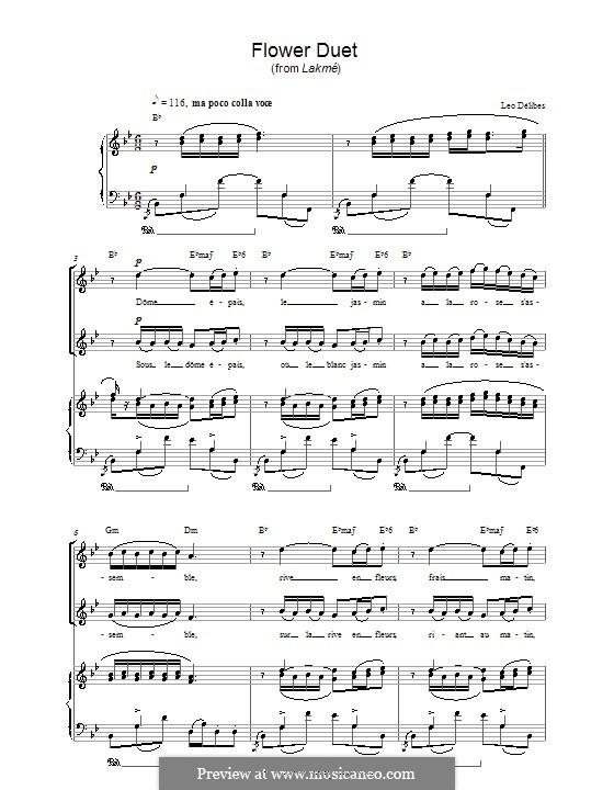 The Flower Duet: Для голоса и фортепиано (или гитары) by Лео Делиб