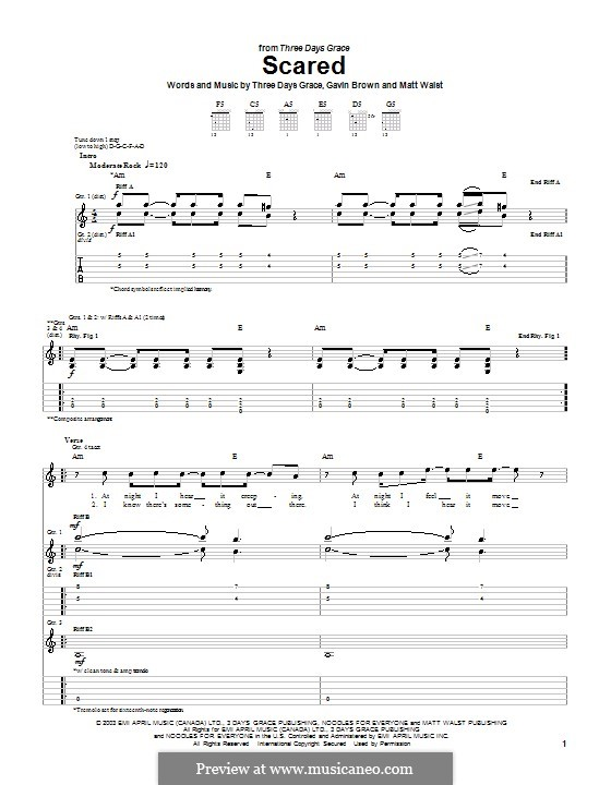 Scared (Three Days Grace): Гитарная табулатура by Gavin Brown, Matt Walst