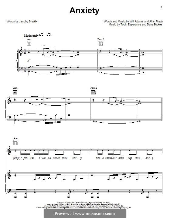 Anxiety (The Black Eyed Peas): Для голоса и фортепиано (или гитары) by apl.de.ap, Jacoby Shaddix, will.i.am