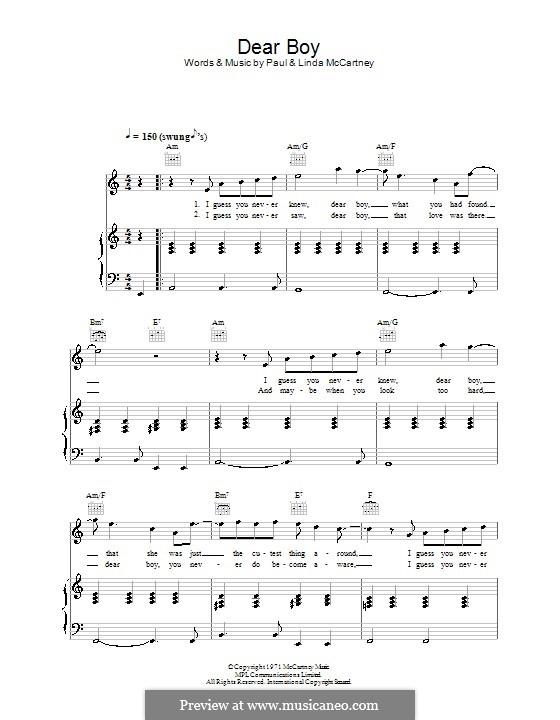 Dear Boy: Для голоса и фортепиано (или гитары) by Linda McCartney, Paul McCartney