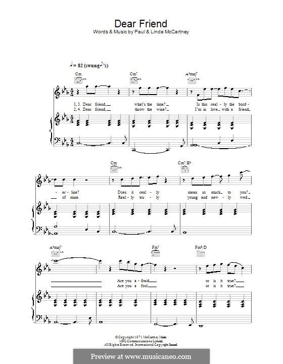 Dear Friend (Wings): Для голоса и фортепиано (или гитары) by Linda McCartney, Paul McCartney