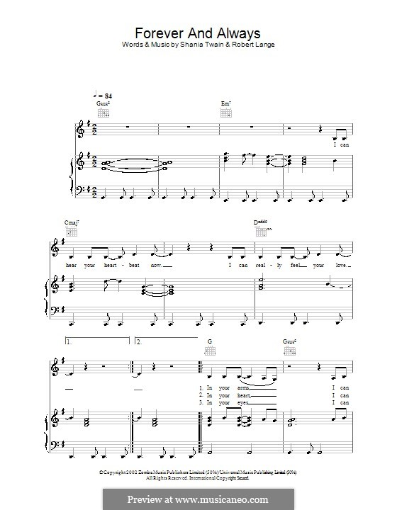 Forever and for Always: Для голоса и фортепиано (или гитары) by Robert John Lange, Shania Twain