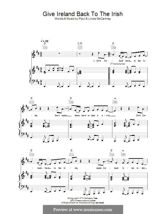 Give Ireland Back To the Irish (Wings): Для голоса и фортепиано (или гитары) by Linda McCartney, Paul McCartney