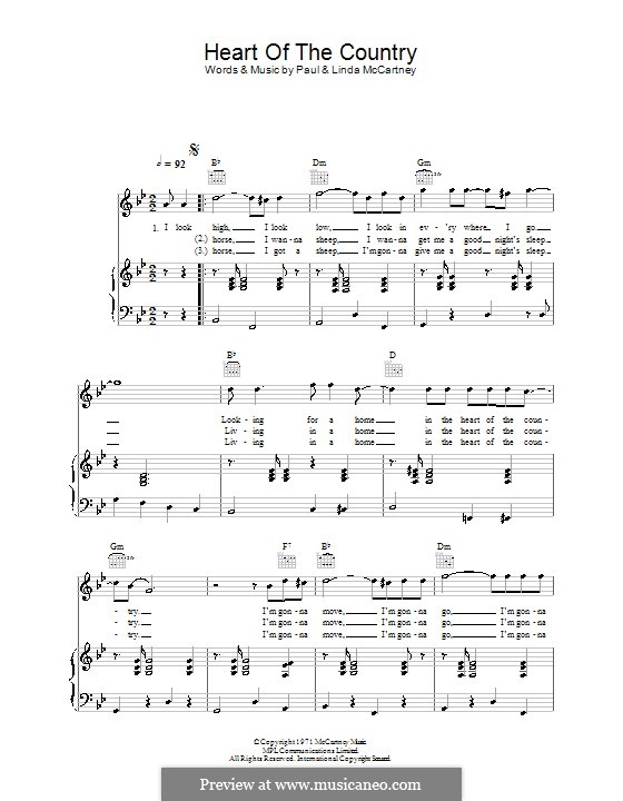 Heart of the Country: Для голоса и фортепиано (или гитары) by Linda McCartney, Paul McCartney
