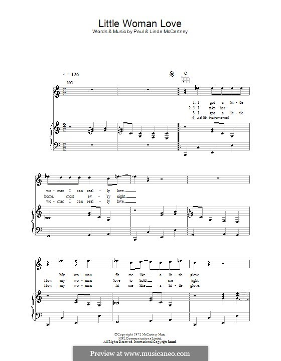 Little Woman Love (Wings): Для голоса и фортепиано (или гитары) by Linda McCartney, Paul McCartney