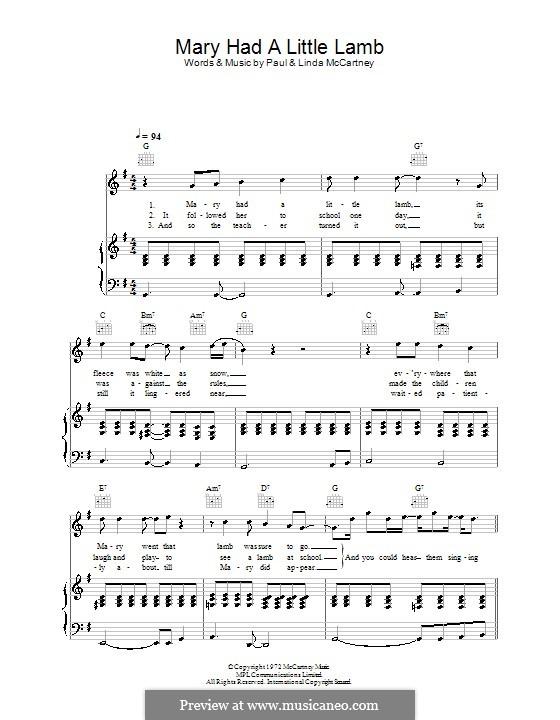 Mary Had a Little Lamb (Wings): Для голоса и фортепиано (или гитары) by Linda McCartney, Paul McCartney