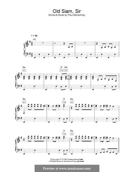Old Siam, Sir (Wings): Для голоса и фортепиано (или гитары) by Paul McCartney