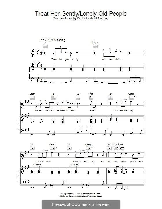 Treat Her Gently / Lonely Old People: Для голоса и фортепиано (или гитары) by Linda McCartney, Paul McCartney