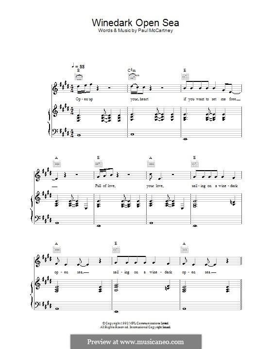 Winedark Open Sea: Для голоса и фортепиано (или гитары) by Paul McCartney