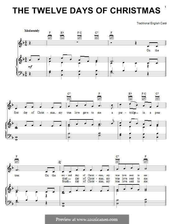 The Twelve Days of Christmas: Для голоса и фортепиано (или гитары) by folklore