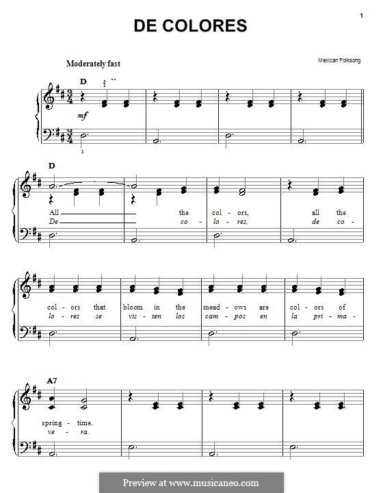 De Colores: Для фортепиано (легкий уровень) by folklore