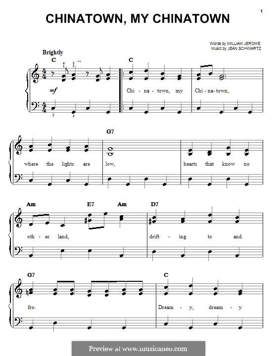 Chinatown, My Chinatown (Louis Armstrong): Для фортепиано (легкий уровень) by William Jerome, Jean Schwartz