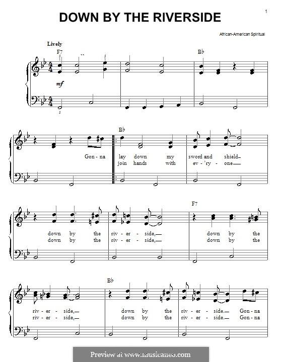Down By the Riverside: Для фортепиано (легкий уровень) by folklore