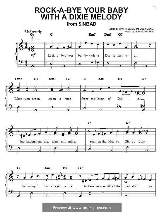 Rock-a-Bye Your Baby with a Dixie Melody (Al Jolson): Для фортепиано (легкий уровень) by Jean Schwartz