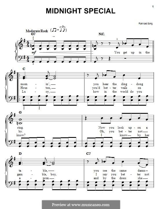 Midnight Special (Railroad Song): Для начинающего пианиста by folklore