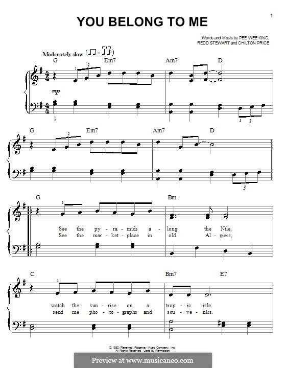 You Belong To Me (Patsy Cline): Для фортепиано (легкий уровень) by Chilton Price, Pee Wee King, Redd Stewart