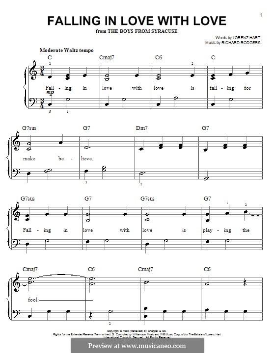 Falling in Love with Love: Для фортепиано (легкий уровень) by Richard Rodgers