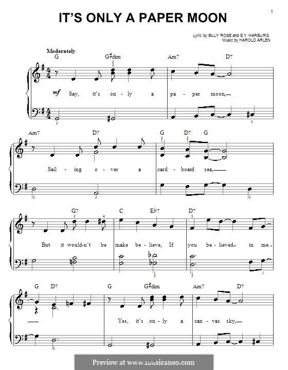 It's Only a Paper Moon: Для фортепиано (легкий уровень) by Harold Arlen