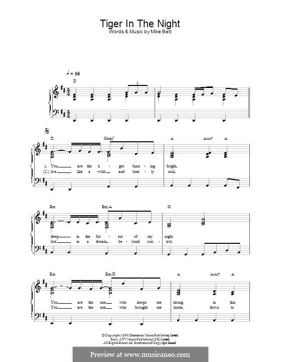 Tiger in the Night (Katie Melua): Для фортепиано (легкий уровень) by Mike Batt