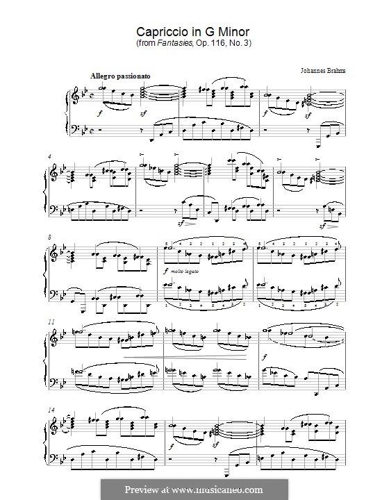 Семь фантазий, Op.116: No.3 Каприччио соль минор by Иоганнес Брамс