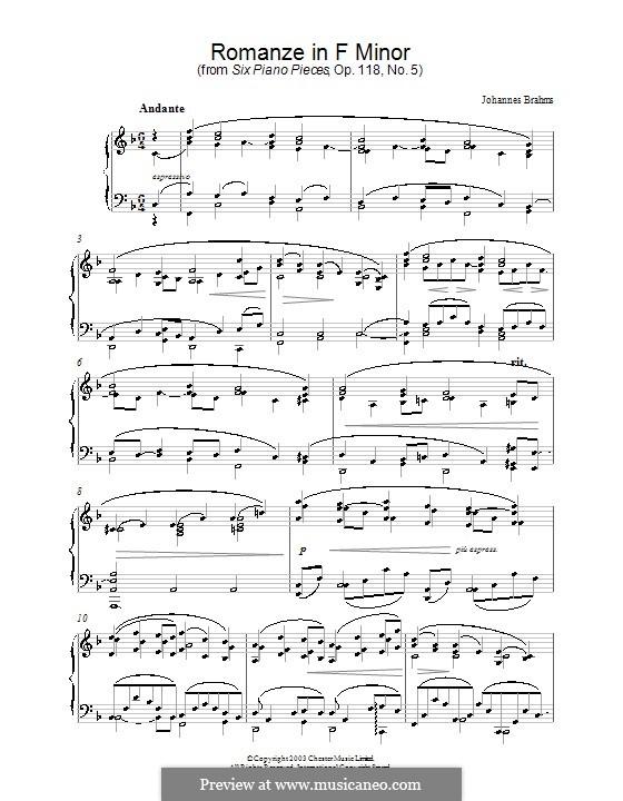 Шесть пьес, Op.118: No.5 Романс by Иоганнес Брамс