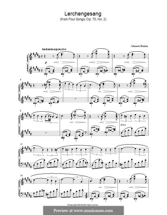 Четыре песни, Op.70: No.2 Song of the Larks, for piano by Иоганнес Брамс
