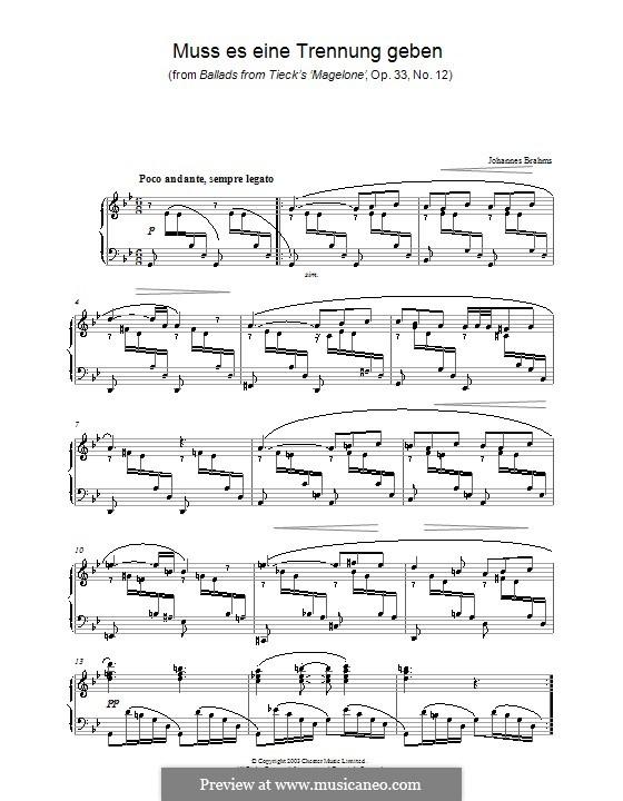 Пятнадцать романсов, Op.33: No.12 Must there Be a Parting, for piano by Иоганнес Брамс