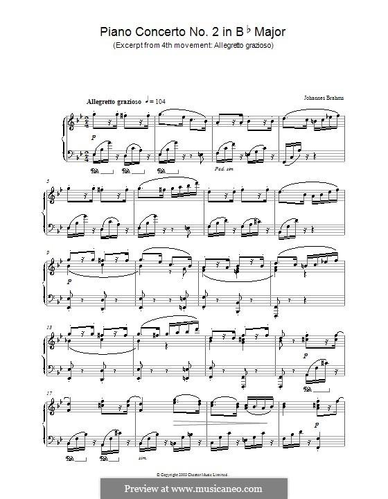 Концерт для фортепиано с оркестром No.2 си-бемоль мажор, Op.83: Movement IV. Excerpt for piano by Иоганнес Брамс