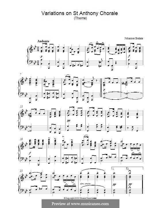Вариации на тему Гайдна, Op.56a: Theme. Version for piano by Иоганнес Брамс