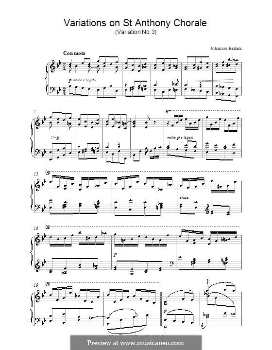 Вариации на тему Гайдна, Op.56a: Вариация No.3. Версия для фортепиано by Иоганнес Брамс