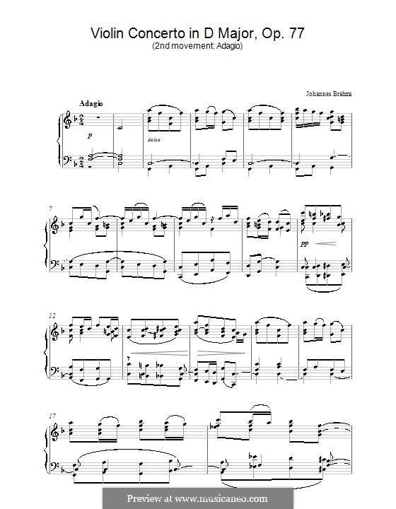 Концерт для скрипки с оркестром ре мажор, Op.77: Часть II. Версия для фортепиано by Иоганнес Брамс