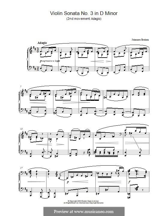 Соната для скрипки и фортепиано No.3 ре минор, Op.108: Часть II. Версия для фортепиано by Иоганнес Брамс