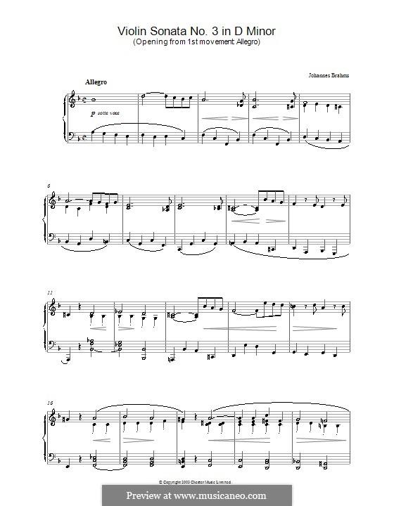 Соната для скрипки и фортепиано No.3 ре минор, Op.108: Часть I (Тема). Версия для фортепиано by Иоганнес Брамс