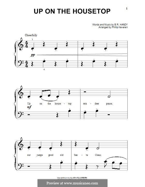 Up on the House Top: Для фортепиано (очень легкая версия) by Benjamin Russel Hanby