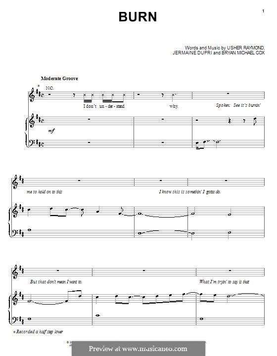 Burn (Usher): Для голоса и фортепиано (или гитары) by Bryan Michael Cox, Jermaine Dupri