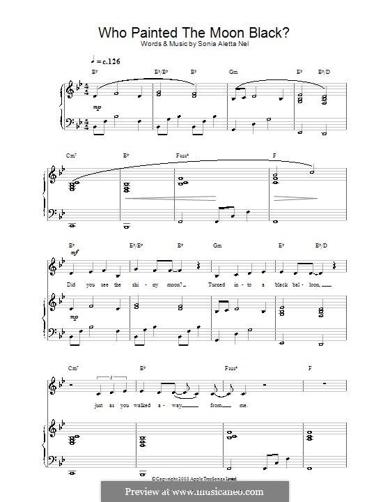 Who Painted the Moon Black? (Hayley Westenra): Для голоса и фортепиано (или гитары) by Sonia Aletta Nel