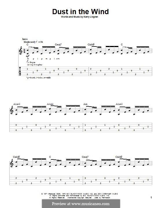 Dust in the Wind (Kansas): Гитарная табулатура by Kerry Livgren