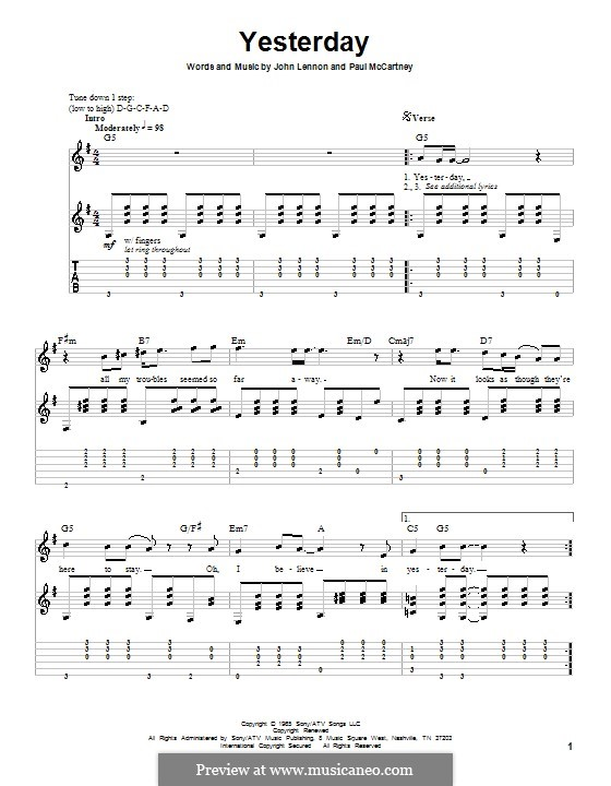 Yesterday (The Beatles): Гитарная табулатура (G Major) by John Lennon, Paul McCartney