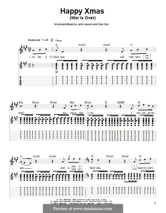 Happy Xmas (War Is Over): Гитарная табулатура by John Lennon, Yoko Ono