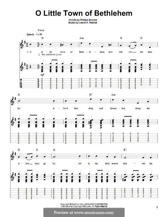 О малый город Вифлеем: Гитарная табулатура (G Major) by Льюис Генри Реднер