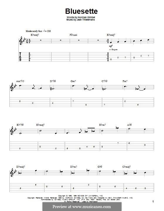 Bluesette: Для гитары с табулатурой by Jean Thielemans