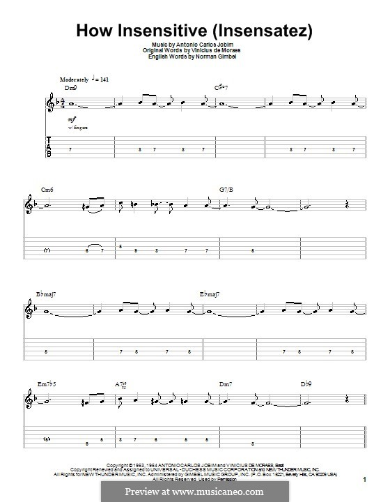How Insensitive (Insensatez): Гитарная табулатура by Antonio Carlos Jobim