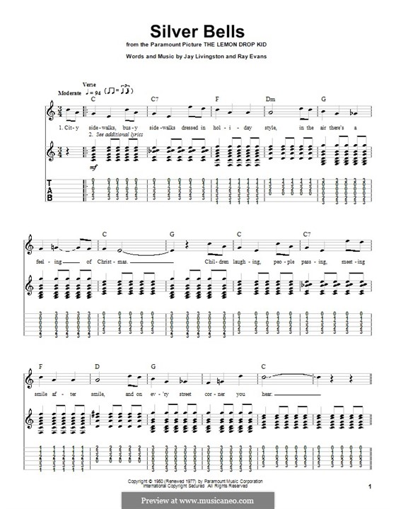 Silver Bells: For guitar with tab (C Major) by Jay Livingston, Raymond Evans