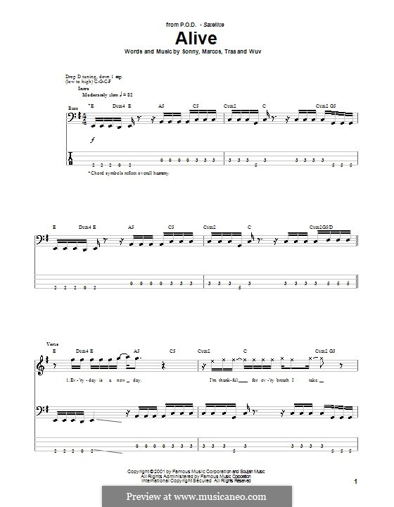 Alive (P.O.D.): Для бас-гитары с табулатурой by Sonny Sandoval, Traa Daniels, Wuv Bernardo, Marcos Curiel