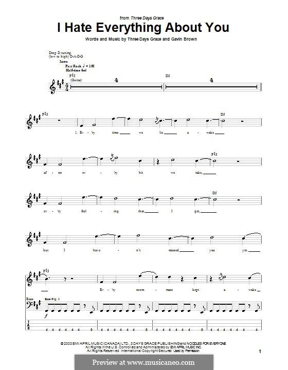 I Hate Everything About You (Three Days Grace): Для бас-гитары с табулатурой by Gavin Brown
