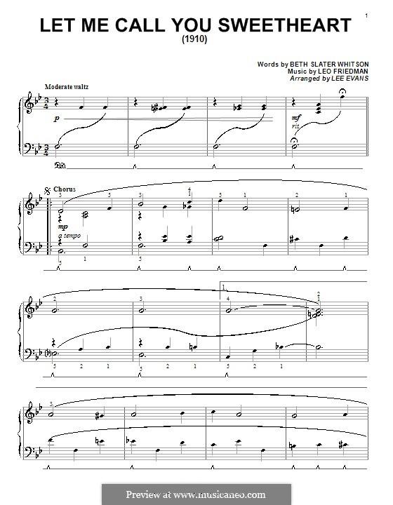 Let Me Call You Sweetheart: Для фортепиано by Лео Фридман