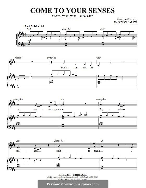 Come to Your Senses: Для голоса и фортепиано (или гитары) by Jonathan Larson