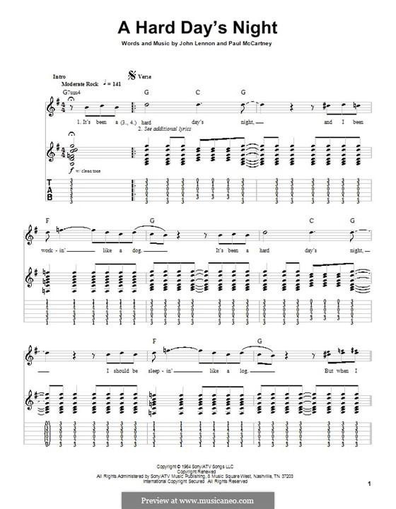 A Hard Day's Night (The Beatles): Гитарная табулатура by John Lennon, Paul McCartney